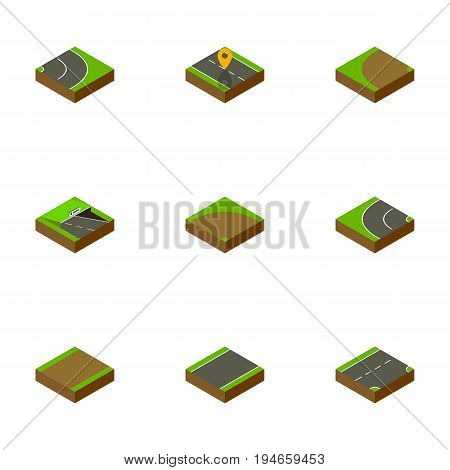 Isometric Way Set Of Down, Way, Asphalt And Other Vector Objects. Also Includes Road, Bitumen, Downward Elements.