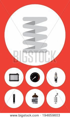 Flat Icon Component Set Of Absorber, Spare Parts, Silencer And Other Vector Objects. Also Includes Spring, Silencer, Speedometer Elements.