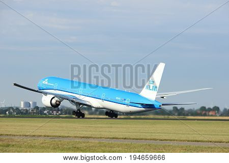 Amsterdam the Netherlands - July 6th 2017: PH-BVS KLM Royal Dutch Airlines Boeing 777-300 takeoff from Polderbaan runway Amsterdam Schiphol Airport