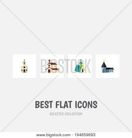 Flat Icon Church Set Of Religion, Christian, Building And Other Vector Objects. Also Includes Church, Religious, Building Elements.