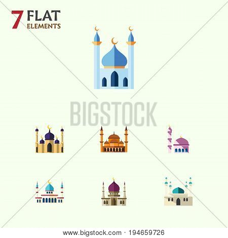Flat Icon Building Set Of Architecture, Mohammedanism, Islam And Other Vector Objects. Also Includes Minaret, Traditional, Structure Elements.