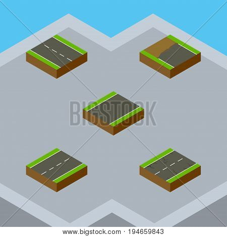 Isometric Way Set Of Driveway, Unilateral, Cracks And Other Vector Objects. Also Includes Driveway, Earthquake, Unfinished Elements.