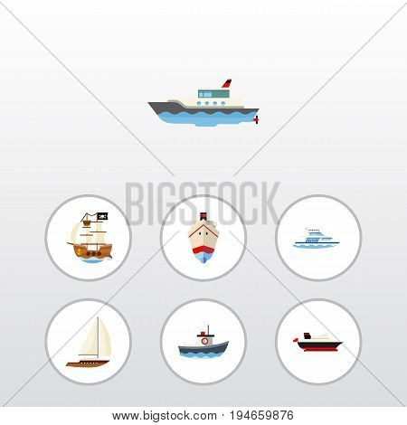 Flat Icon Boat Set Of Boat, Delivery, Yacht And Other Vector Objects. Also Includes Transport, Vessel, Pirate Elements.