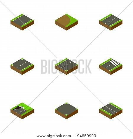 Isometric Way Set Of Crossroad, Upwards, Driveway And Other Vector Objects. Also Includes Lane, Downward, Plane Elements.