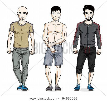 Happy men group standing in stylish sportswear. Vector diverse people illustrations set.