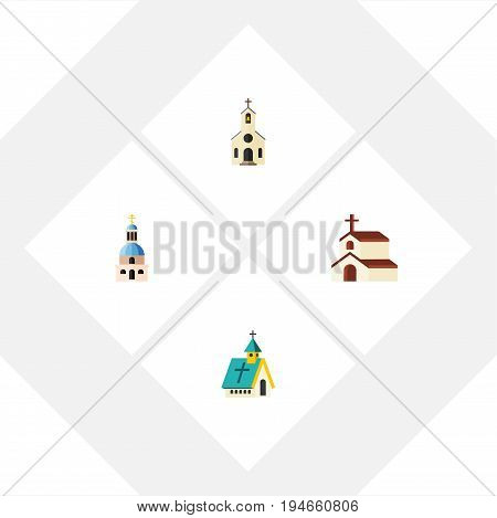 Flat Icon Church Set Of Church, Building, Religion And Other Vector Objects. Also Includes Building, Faith, Church Elements.
