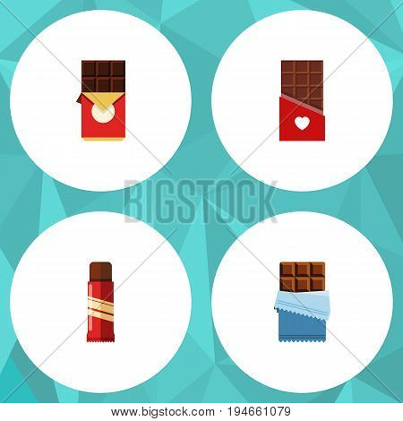 Flat Icon Cacao Set Of Sweet, Chocolate, Chocolate Bar And Other Vector Objects. Also Includes Bitter, Shaped, Sweet Elements.