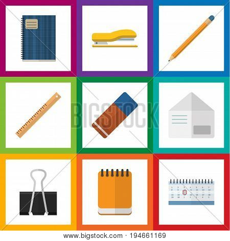 Flat Icon Stationery Set Of Rubber, Paper Clip, Notepaper And Other Vector Objects. Also Includes Almanac, Envelope, Tool Elements.