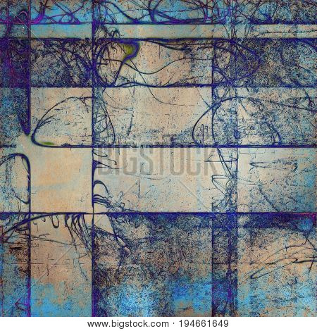 Abstract dirty texture or grungy background. With old style decorative elements and different color patterns: yellow (beige); brown; gray; blue; cyan