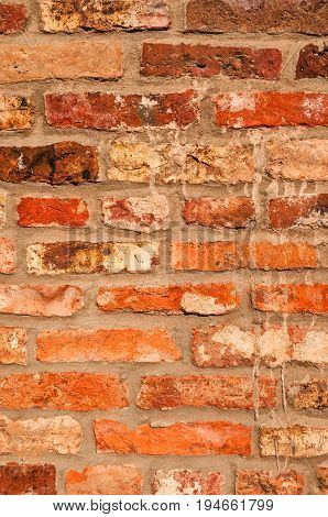 Old Brick Wall, paint flaked and weathered
