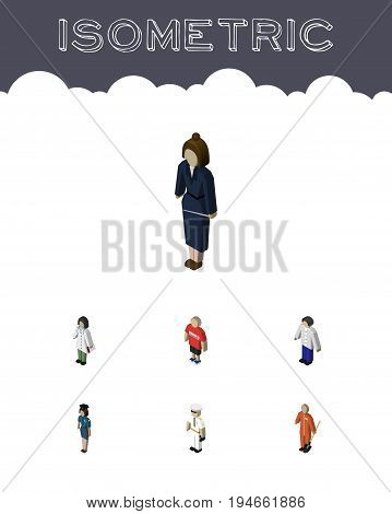 Isometric People Set Of Businesswoman, Policewoman, Guy And Other Vector Objects. Also Includes Officer, Guy, Female Elements.