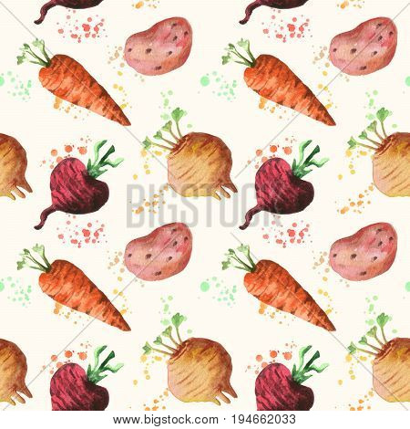 Seamless pattern with fresh root vegetables. Watercolor painting of potato, red beet, carrot and white turnip