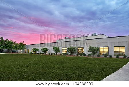 Generic White grey Stone Industrial office building exterior