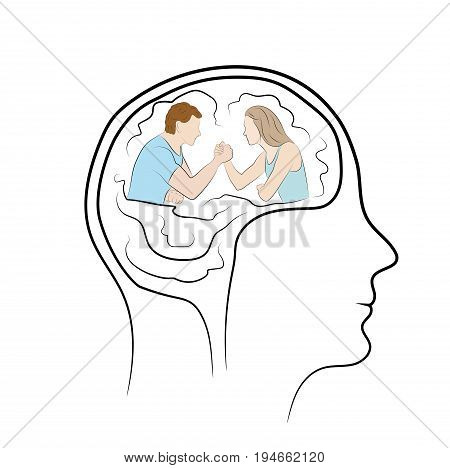 Wrestling in the head of a person. Test of Strength. A man and a woman are sitting opposite each other. Concept business vector illustration
