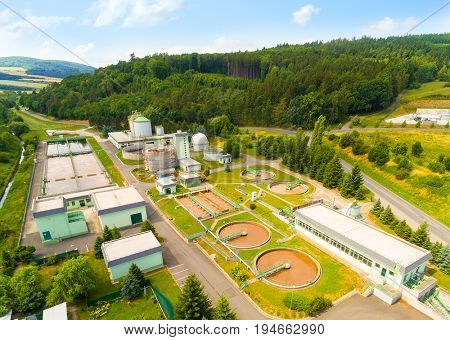Aerial view of public sewage treatment plant for 22, 000 inhabitants of Klatovy city in Czech Republic, Europe. Environment and industry from above.