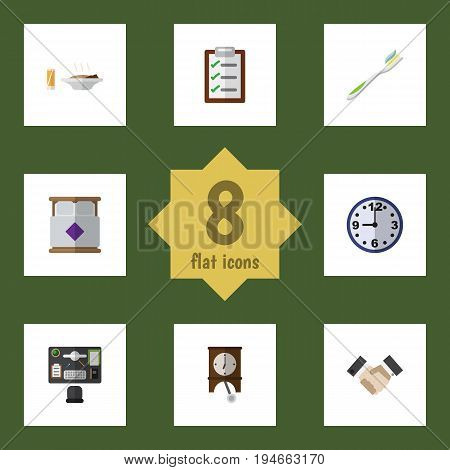 Flat Icon Lifestyle Set Of Bureau, Mattress, Partnership And Other Vector Objects. Also Includes Lunch, Pendulum, Form Elements.