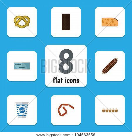 Flat Icon Food Set Of Bratwurst, Yogurt, Smoked Sausage And Other Vector Objects. Also Includes Fish, Egg, Bratwurst Elements.