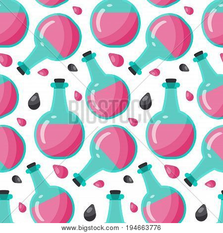 Bottle of poison vector seamless pattern Flat design of toxic dangerous or medicine with white background cute vector illustration with reflections