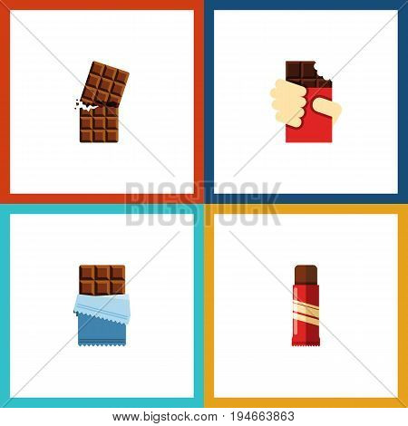 Flat Icon Sweet Set Of Wrapper, Sweet, Shaped Box And Other Vector Objects. Also Includes Chocolate, Confection, Box Elements.