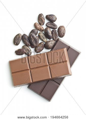 Chocolate bar and cocoa beans isolated on white background.