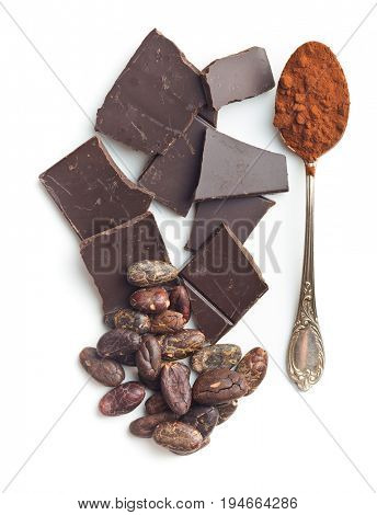 Chocolate cocoa beans and cocoa powder in spoon isolated on white background.