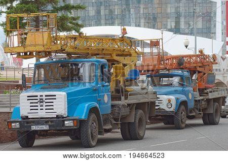 SARANSK, RUSSIA - JULY 08, 2017: Elevated work platform based on ZIL trucks parked on the city road.