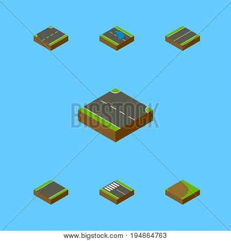 Isometric Road Set Of Upwards, Rotation, Strip And Other Vector Objects. Also Includes Road, Strip, Upward Elements.