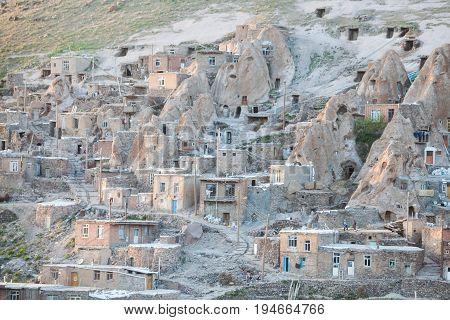Houses in the mountain village of Kandovan Iran.