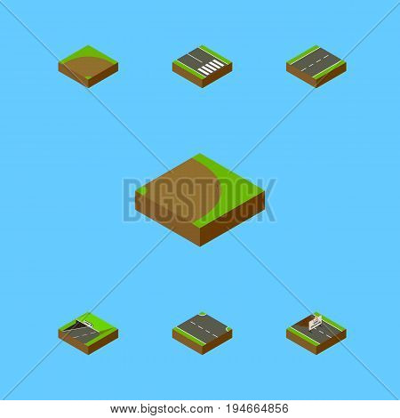 Isometric Road Set Of Rightward, Subway, Repairs And Other Vector Objects. Also Includes Pedestrian, Strip, Turning Elements.