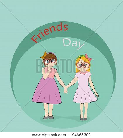 Friends day fun pastime with loved reliable friend. Vector web banner about friendship in cartoon style.