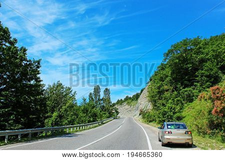 Year landscape with expensive on background blue sky with white cloud