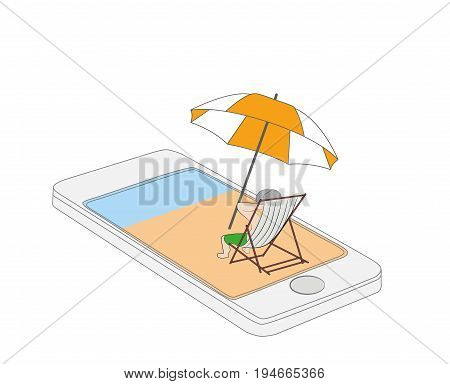 A man on a deckchair resting by the sea. Concept of relaxation on the phone. vector illustration