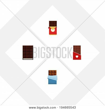 Flat Icon Chocolate Set Of Dessert, Chocolate Bar, Bitter And Other Vector Objects. Also Includes Chocolate, Shaped, Box Elements.