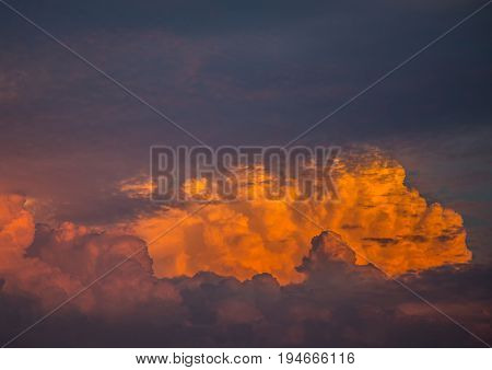 By The Evening Sun Illuminated Cumulonimbus Over The City Of Erlangen In Germany