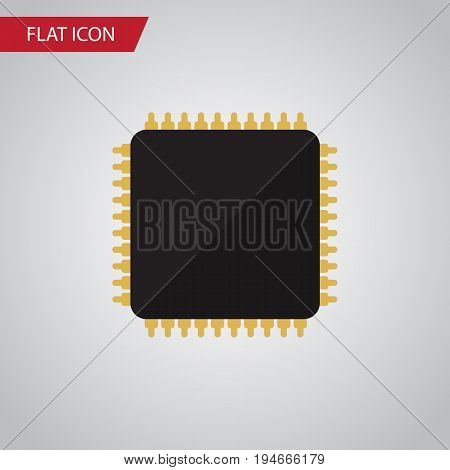 Isolated Microprocessor Flat Icon. Cpu Vector Element Can Be Used For Cpu, Microprocessor, Motherboard Design Concept.