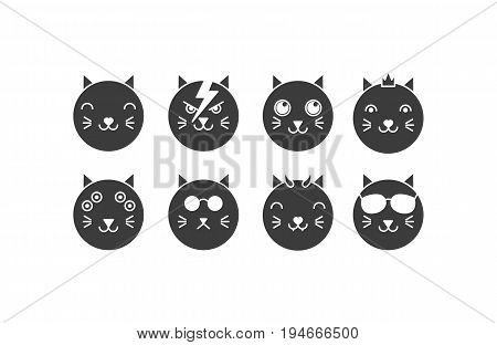 Vector flat cat icon set: hero princess cute evil hipster mutant alien boss. Silhouette isolated animal icons on white background.