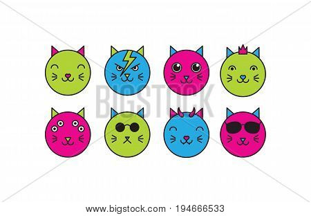 Vector flat cat icon set: hero princess cute evil hipster mutant alien boss. Colored isolated animal icons on white background.