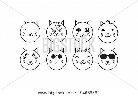 Vector flat cat icon set: hero princess cute evil hipster mutant alien boss. Line isolated animal icons on white background.