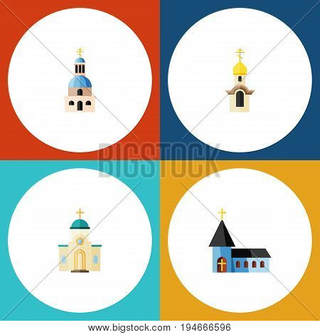 Flat Icon Christian Set Of Church, Christian, Religious And Other Vector Objects. Also Includes Catholic, Structure, Religious Elements.