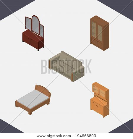 Isometric Design Set Of Drawer, Couch, Cabinet And Other Vector Objects. Also Includes Closet, Cabinet, Couch Elements.