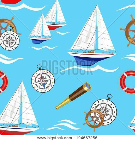 Vector pattern with a marine sailing regatta and the attributes of a yacht and a compass, steering wheel, life ring and a telescope on a blue background among the waves.
