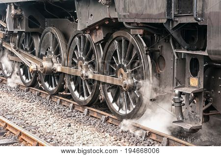 Steam Train Drive Wheels, black and steel, bygone age