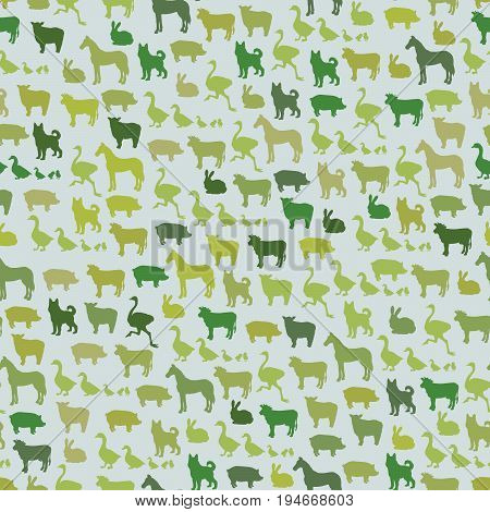 Farm animals silhouette seamless pattern. Zoo animals in cartoon style for food wrapping design. Cow, sheep, pig, horse, ostrich, guard dog, duck, rabbit, goose, pork