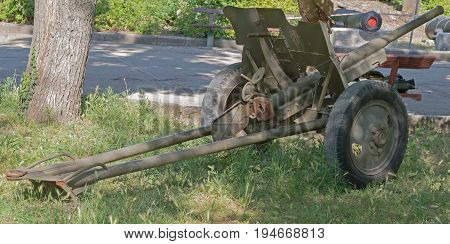 Old Soviet cannon of period 1941-1945 years