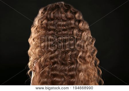 Healthy Hair. Curly Long Hairstyle. Back View Of Brown Hairs. Hair Styling Isolated On Black Studio