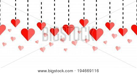 Horizontally seamless border ornament with red hearts and dashed lines on white background. Repeating background for webpage headers and banners. Vector