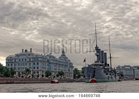 SAINT-PETERSBURG, RUSSIA - 9 JULY 2017: Cruiser Aurora in Saint-Petersburg, Russia. Museum ship and symbol of October revolution 1917 year
