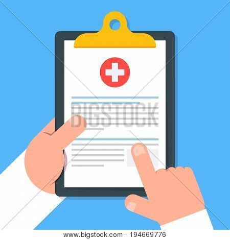 Clipboard in hand doctor. Doctor consider notes in a Clipboard. Medical report, medical background. Vector, flat design. Patient care. Top view