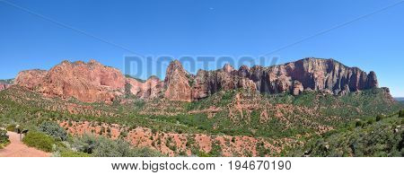Kolob Canyons panorama in Zion National Park, in the northwest corner of the park, narrow parallel box canyons are cut into the western edge of the Colorado Plateau