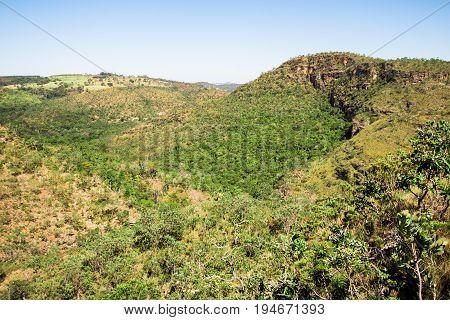 Green Mountains in Pirenopolis City Goias Brazil.